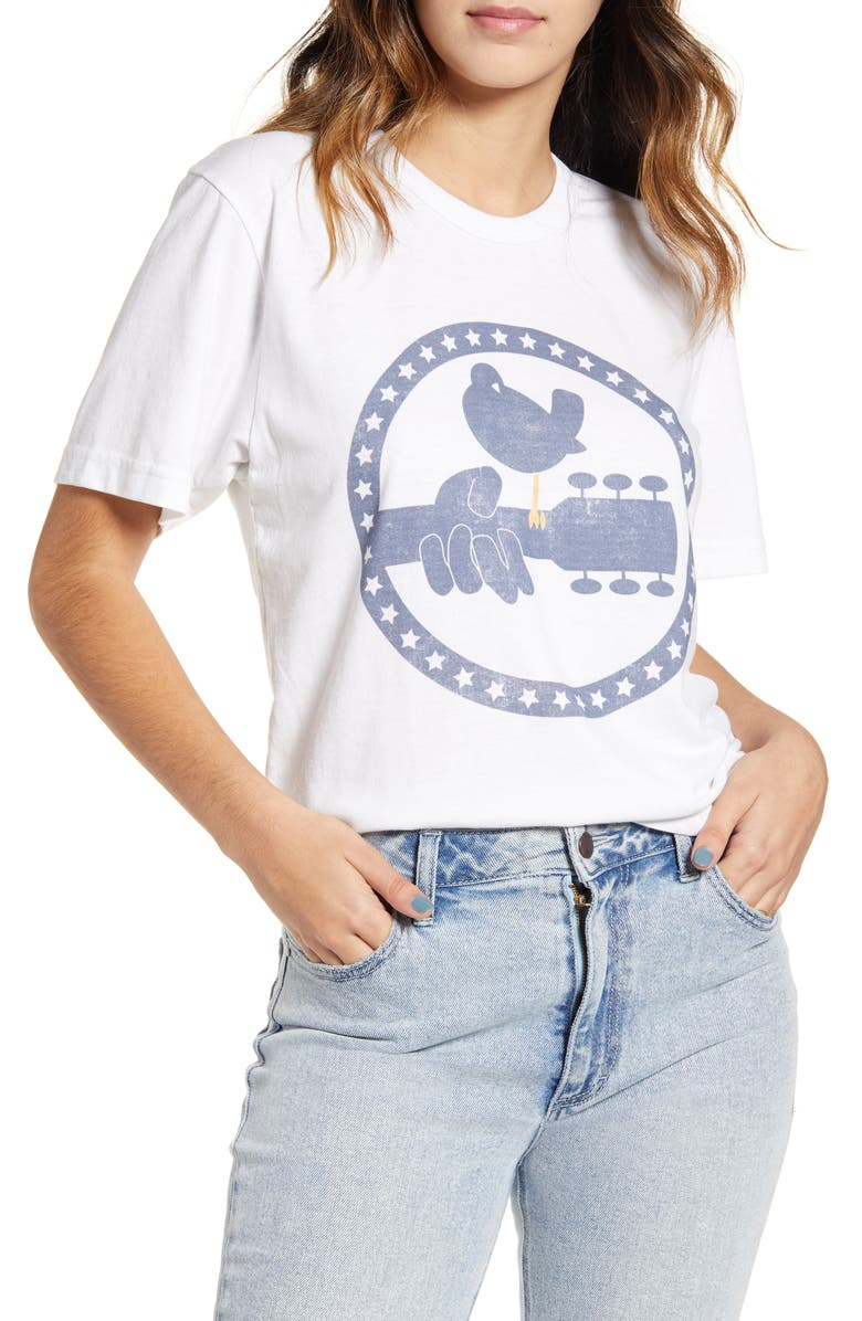 RECYCLED KARMA Recycled Polyester & Cotton Tee, Main, color, WHITE