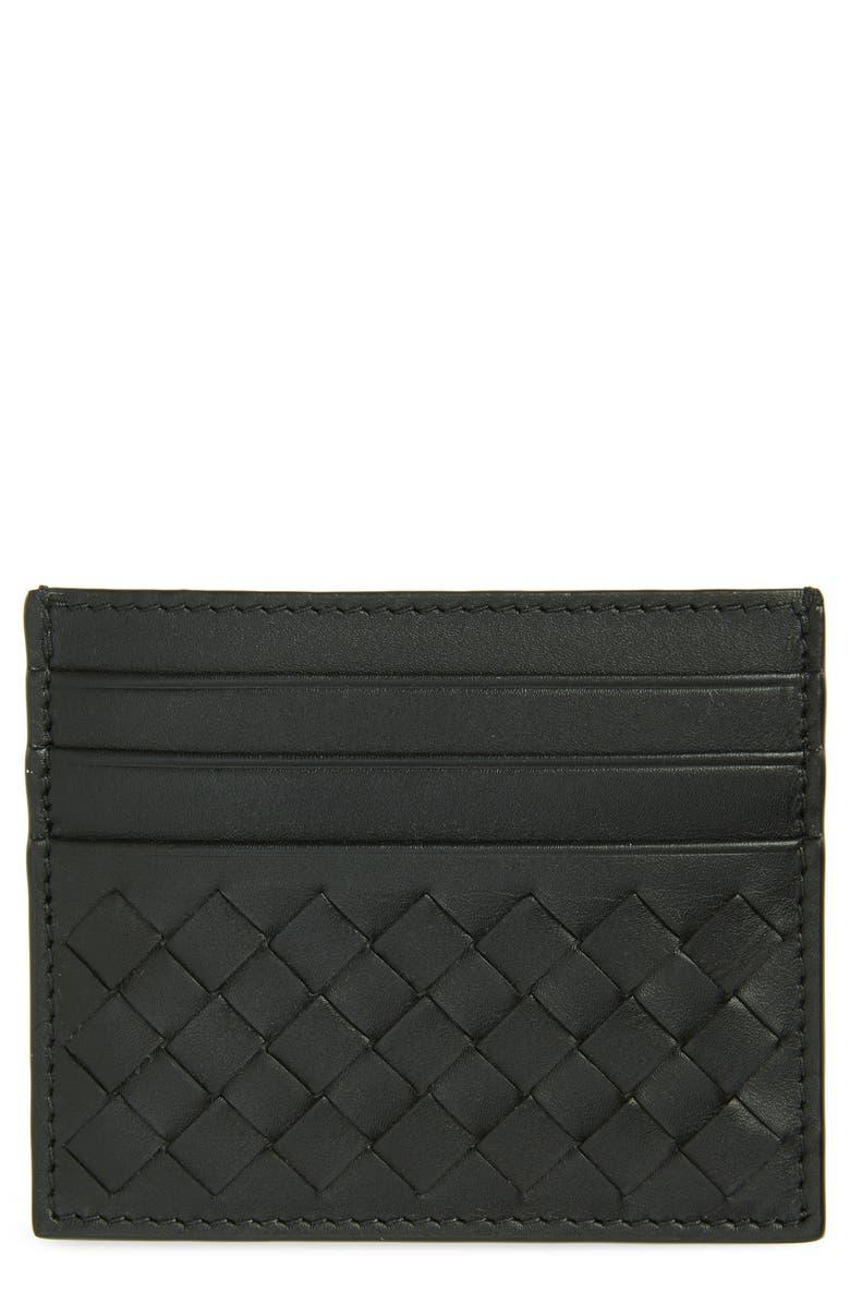 BOTTEGA VENETA Intrecciato Leather Card Case, Main, color, NERO