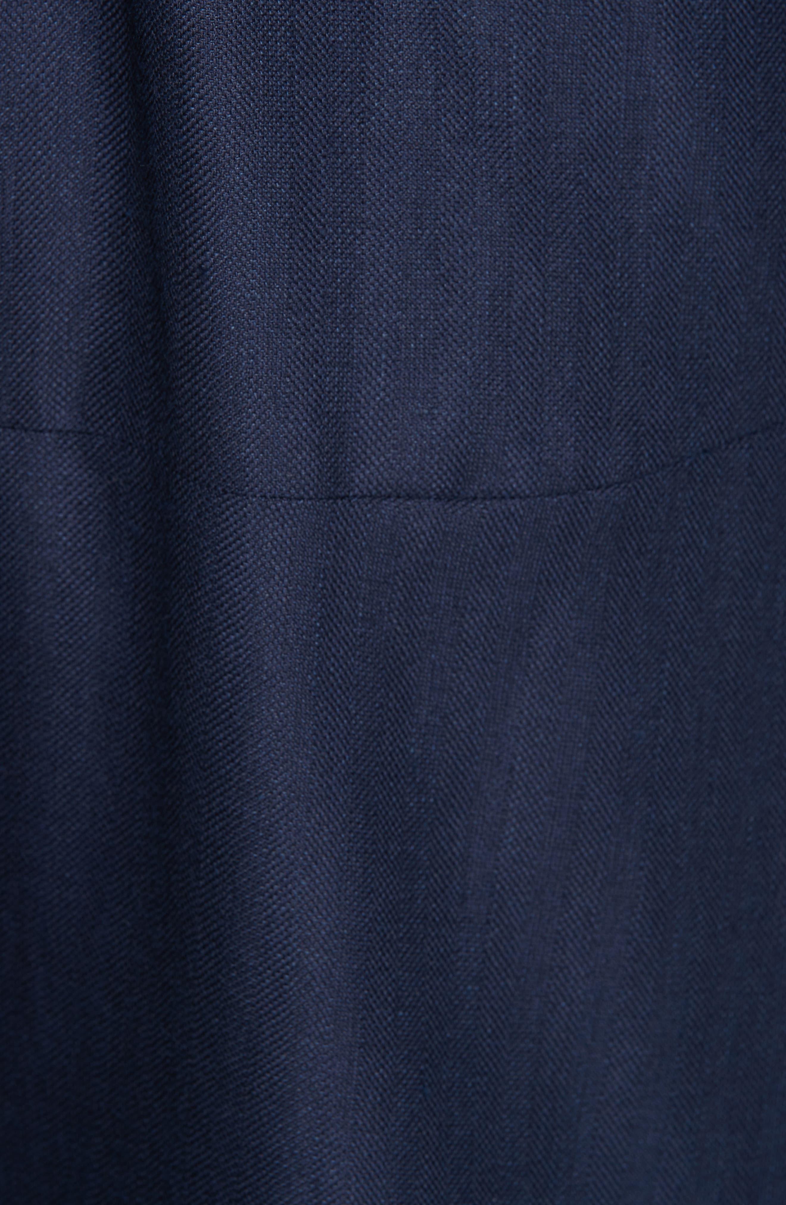 ,                             Carved Wool & Linen Coat,                             Alternate thumbnail 5, color,                             NAVY HERRINGBONE LINEN