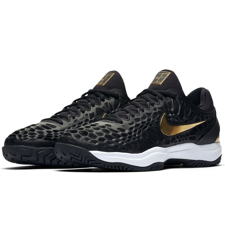 NIKE Air Zoom Cage 3 HC Tennis Shoe, Main, color, BLACK/ WHITE/ GOLD