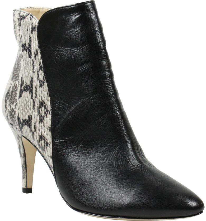 J. RENEÉ Barlie Bootie, Main, color, BLACK LEATHER/ SNAKE PRINT