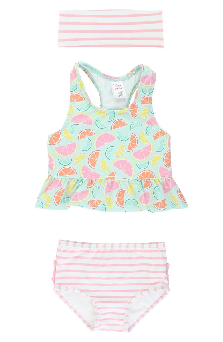 RUFFLEBUTTS Citrus & Stripe Tankini with Headband, Main, color, GREEN CITRUS AND STRIPE