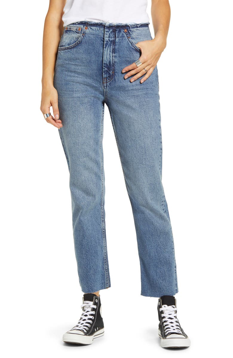 TOPSHOP Raw Waist Straight Leg Jeans, Main, color, MID DENIM
