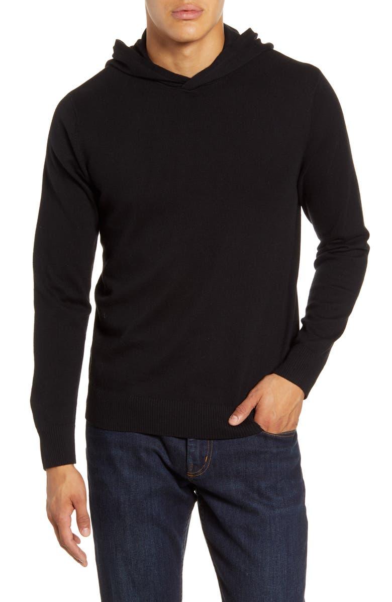 BONOBOS Slim Fit Hooded Sweater, Main, color, JET BLACK