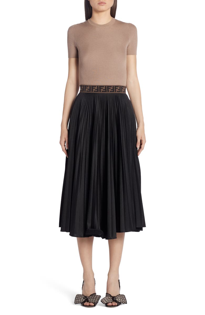 FENDI FF Band Pleated A-Line Midi Skirt, Main, color, BLACK