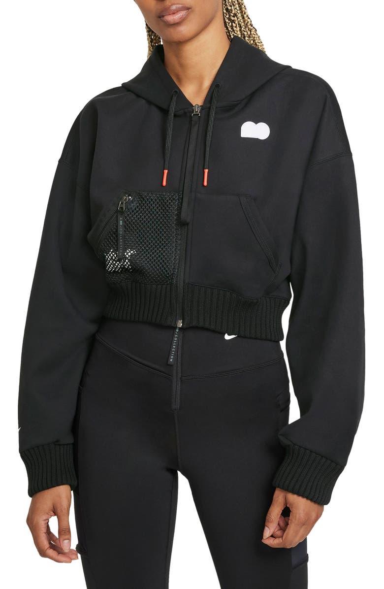 NIKE Naomi Osaka Fleece Zip Hoodie, Main, color, BLACK / WHITE