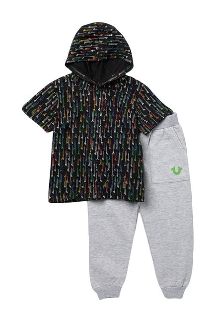 Image of True Religion Hooded Tee & Fleece Joggers Set
