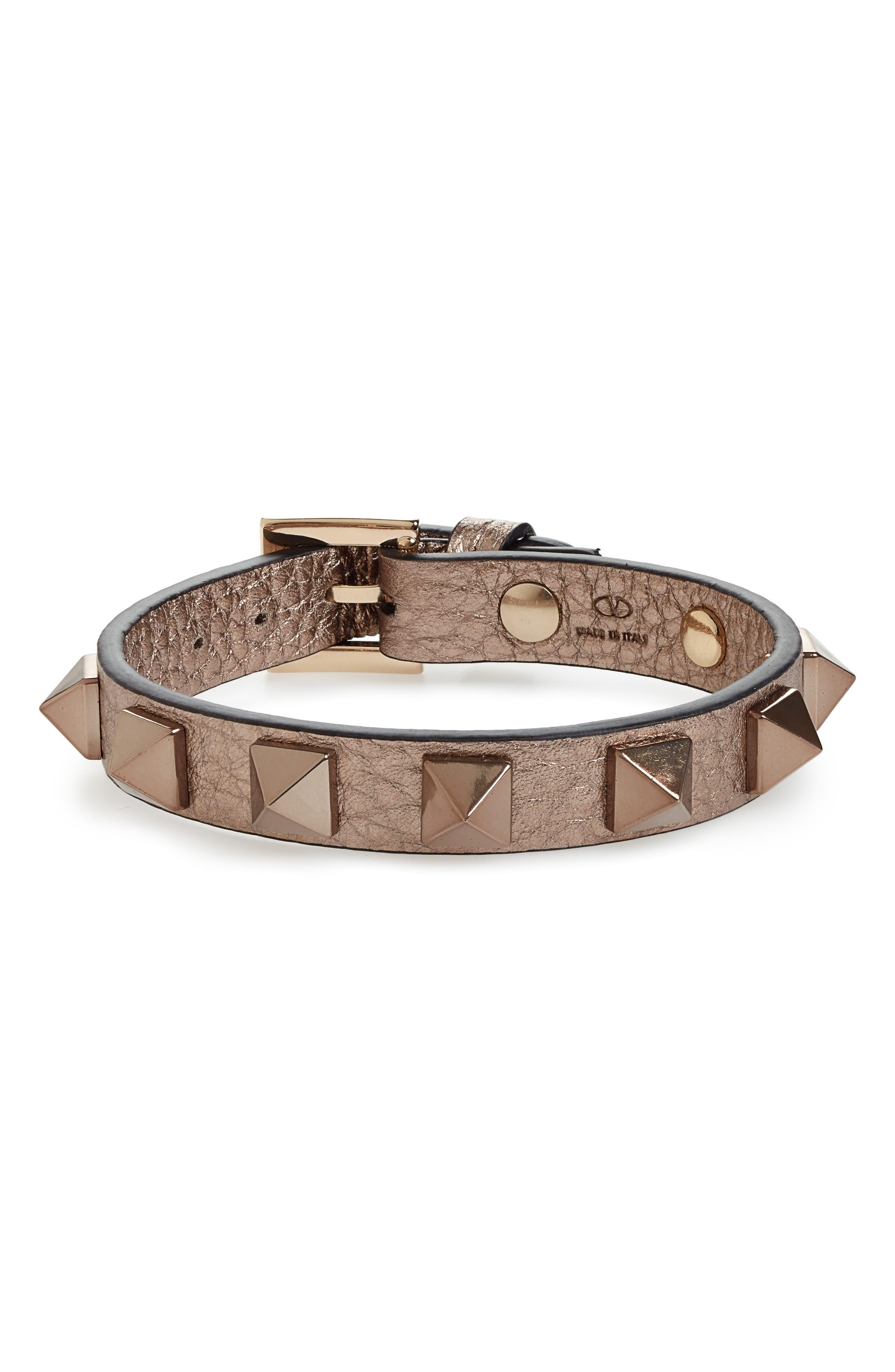 Rockstud Small Leather Bracelet, Main, color, 250