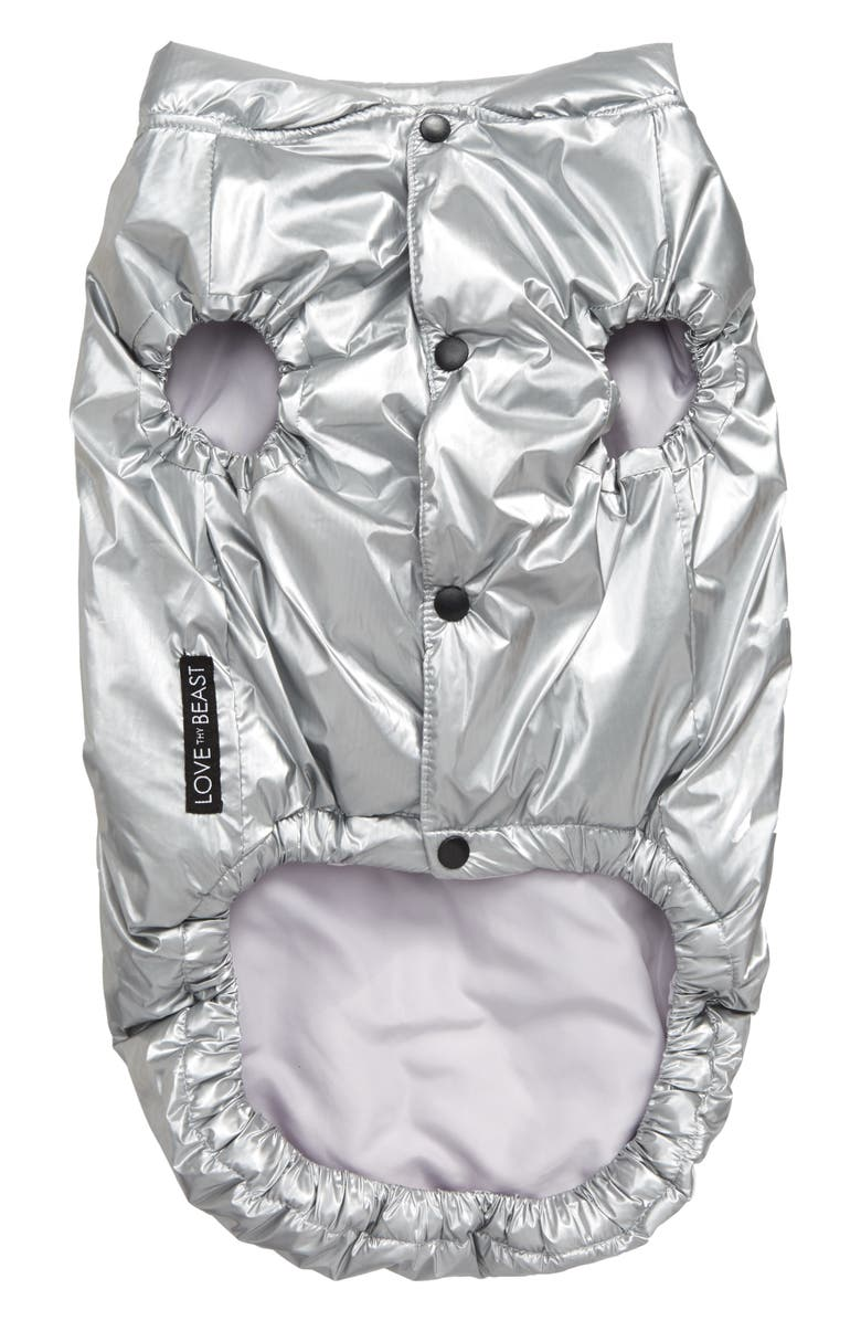 LOVETHYBEAST Metallic Puffer Vest, Main, color, METALLIC SILVER