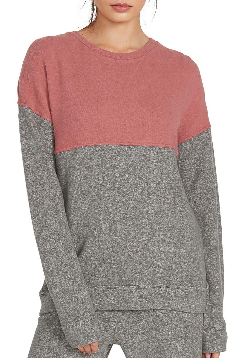 VOLCOM Lil Crew Colorblock Fleece Sweatshirt, Main, color, CHARCOAL