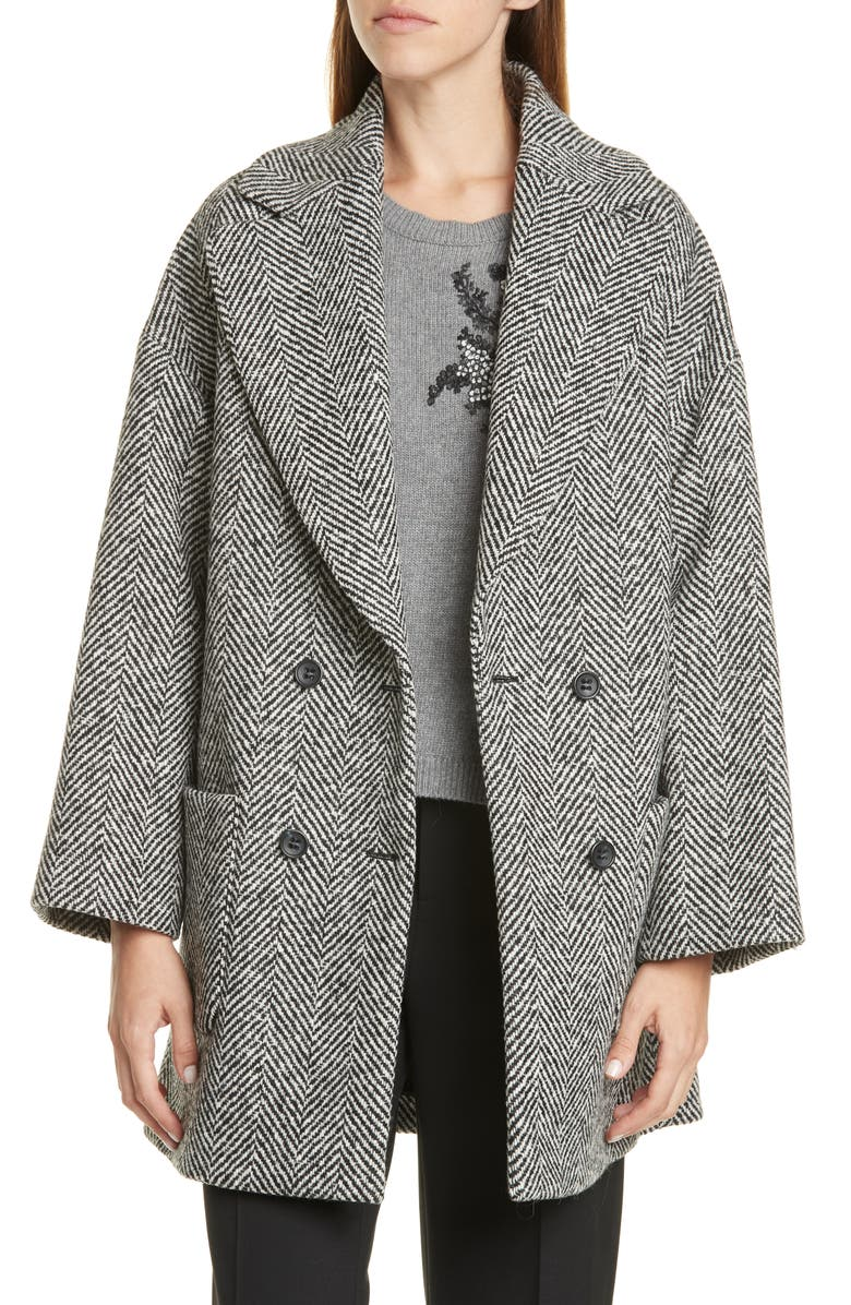 RED VALENTINO Oversize Double Breasted Herringbone Tweed Coat, Main, color, 037