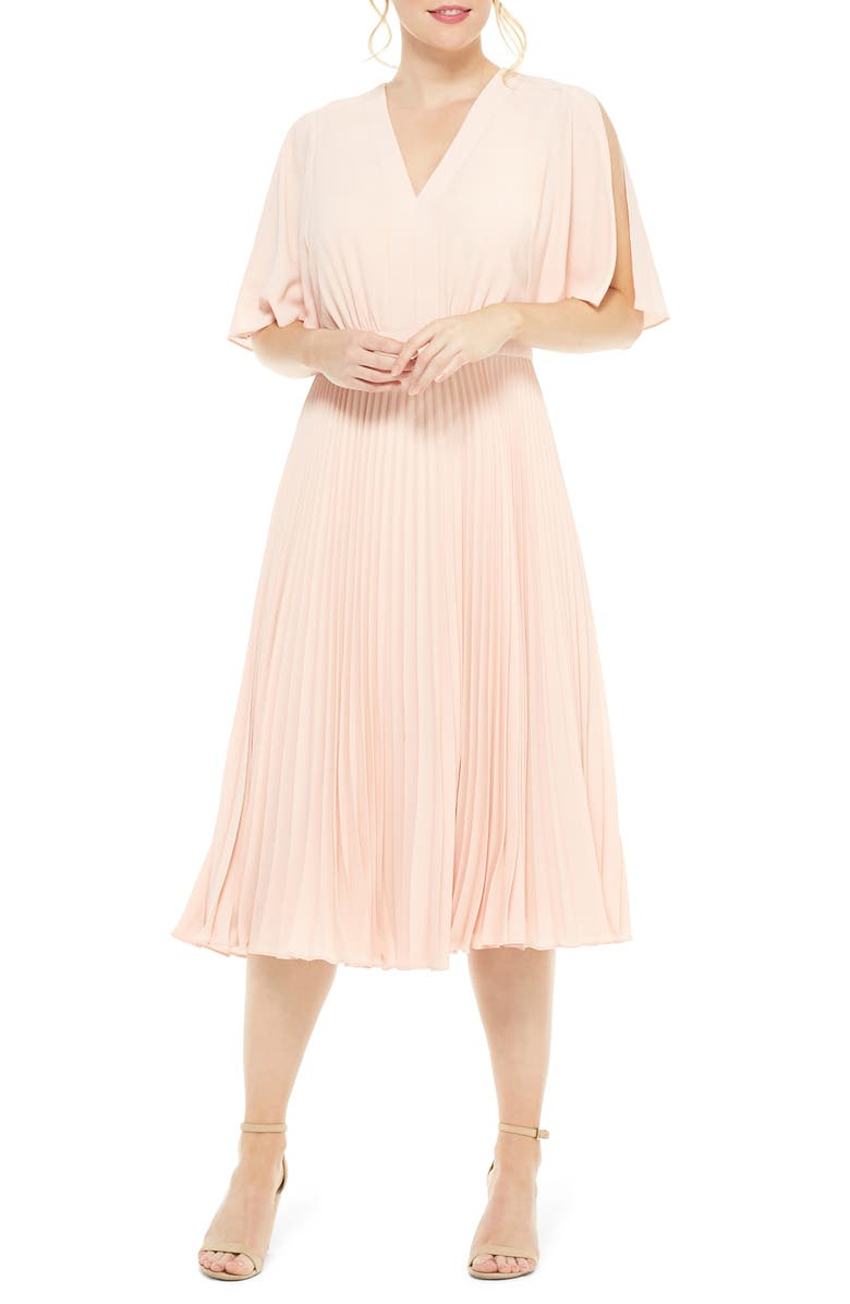 MAGGY LONDON Split Sleeve Pleated Midi Dress, Main, color, 680