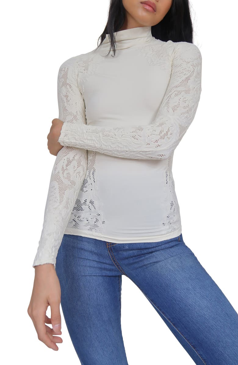 FREE PEOPLE No Turning Back Lace Turtleneck Top, Main, color, IVORY