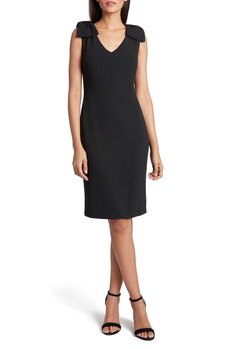 TAHARI Bow Crepe Sheath Dress, Main, color, BLACK