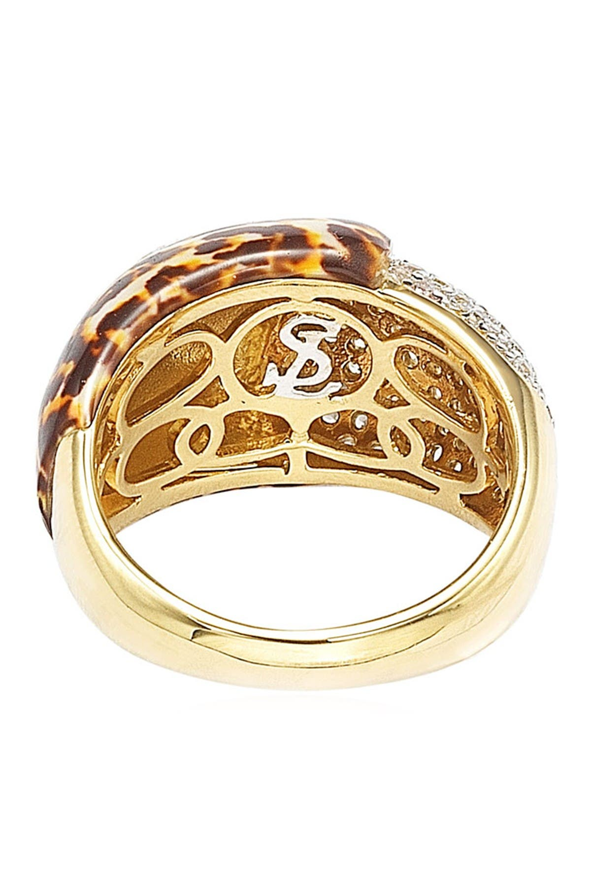 Image of Suzy Levian 14K Gold Plated Sterling Silver Pave CZ & Animal Print Dome Band Ring