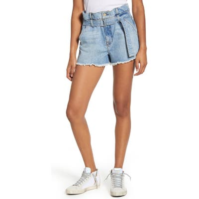 7 For All Mankind Paperbag Waist Denim Shorts, Blue