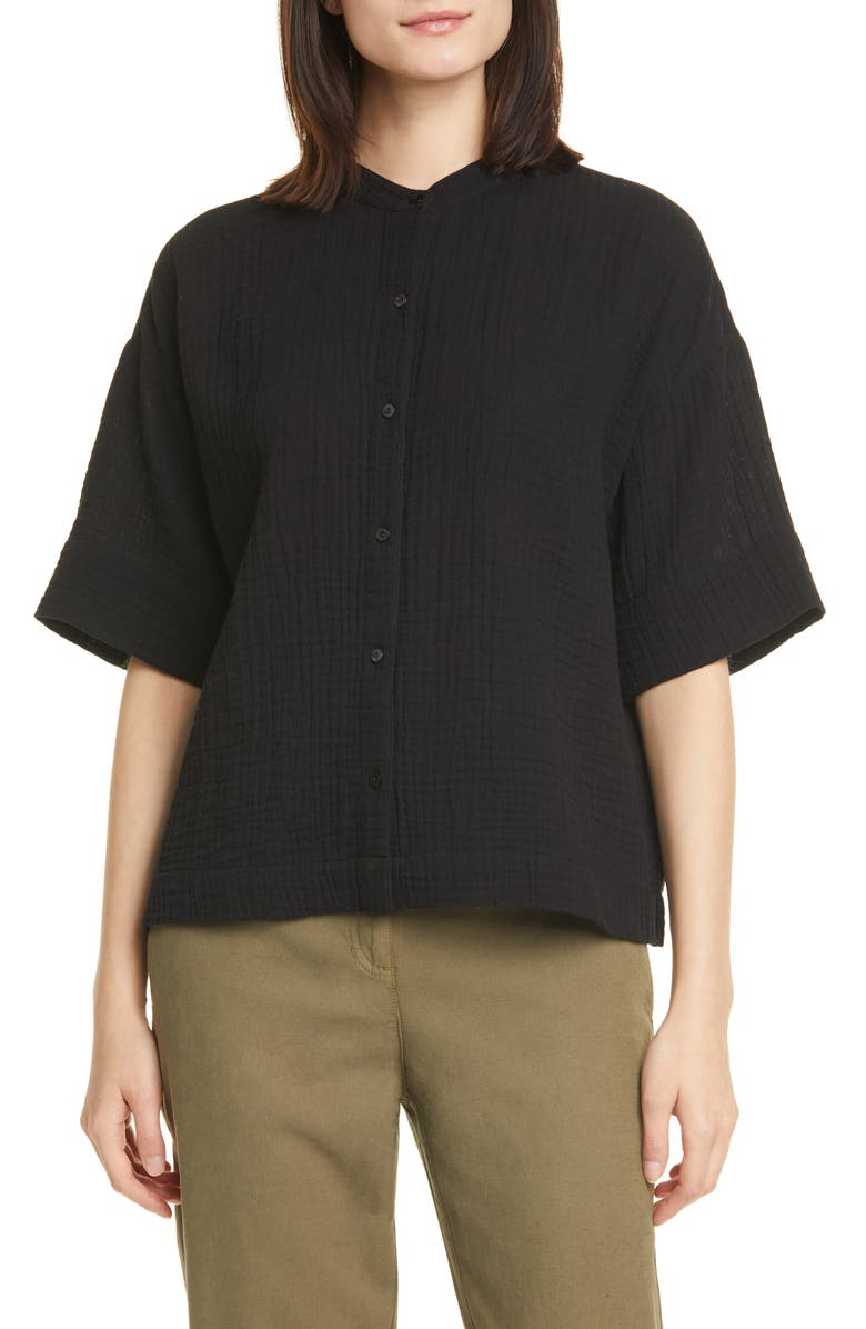 EILEEN FISHER Boxy Organic Cotton Top, Main, color, BLACK