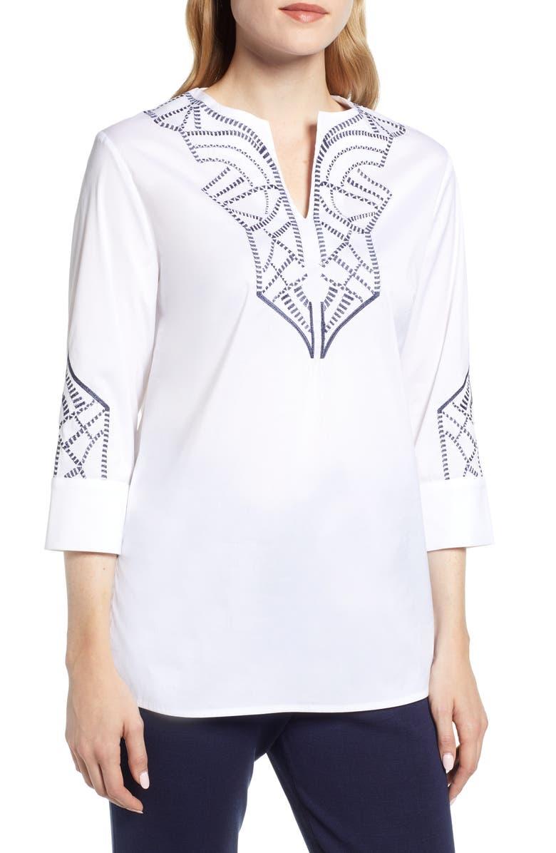 MING WANG Embroidered Tunic, Main, color, WHITE/ INDIGO
