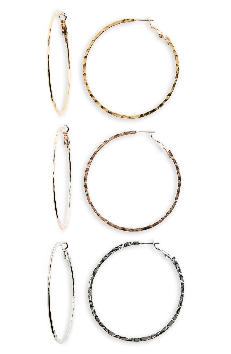BP. Set of 3 Hoop Earrings, Main, color, 710