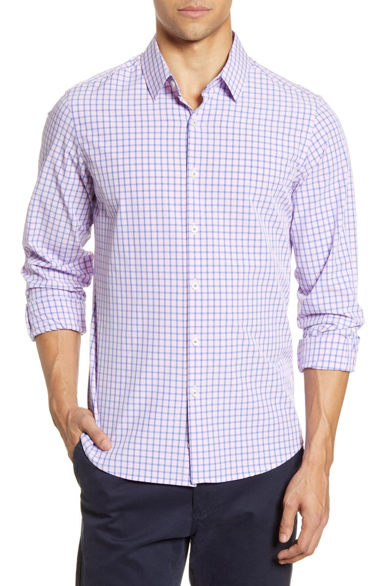 MOVE PERFORMANCE APPAREL Check Button-Up Shirt, Main, color, PINK
