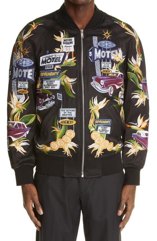 Givenchy Linings MOTEL CAR EMBROIDERED BOMBER JACKET