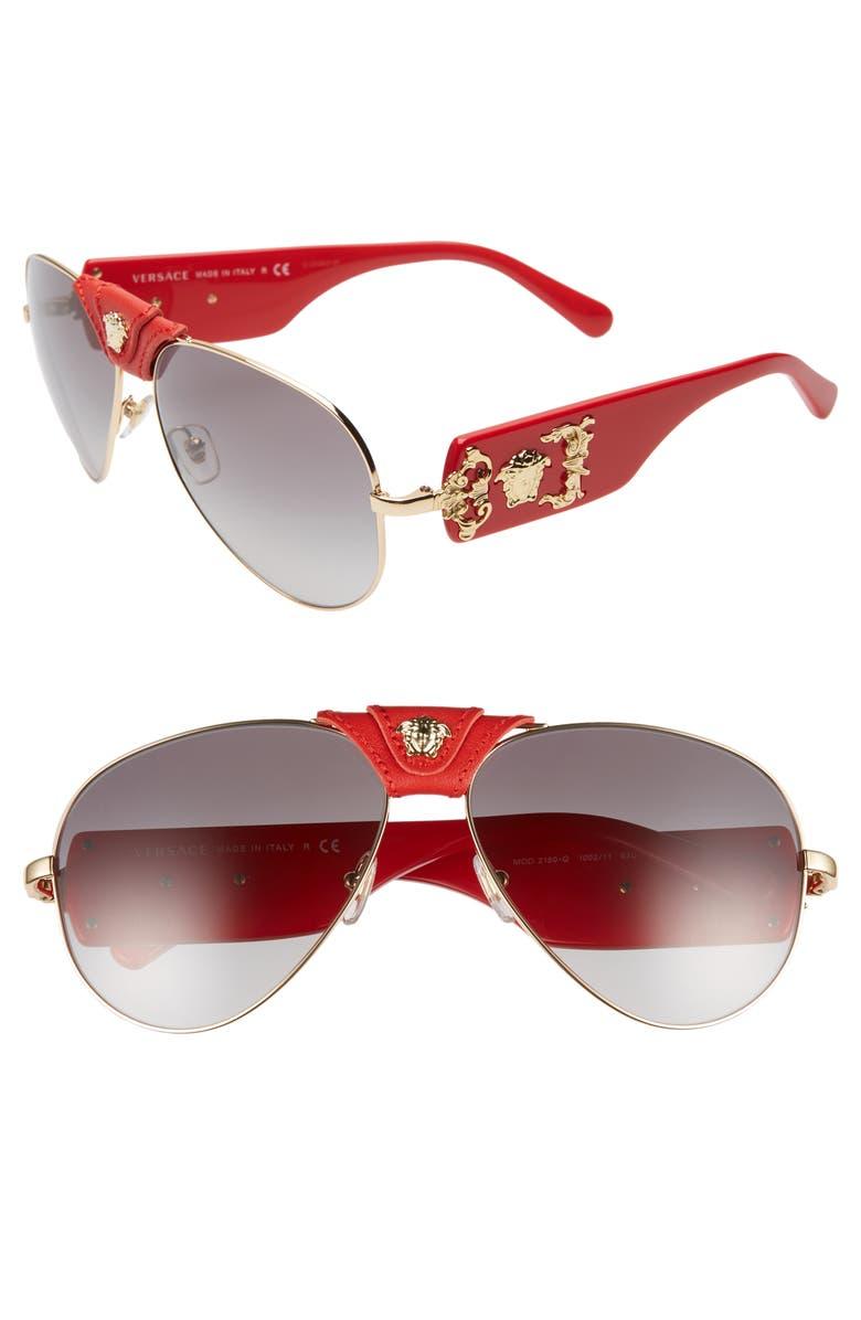 VERSACE Medusa 62mm Aviator Sunglasses, Main, color, 710