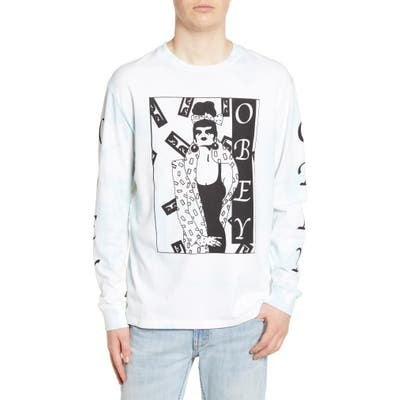 Obey Surrounded Bleach Long Sleeve Graphic T-Shirt, Blue