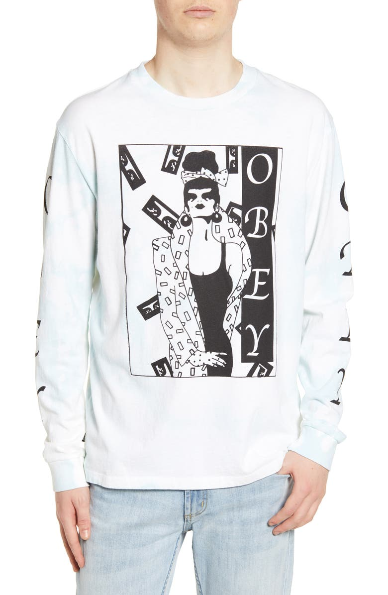 OBEY Surrounded Bleach Long Sleeve Graphic T-Shirt, Main, color, 460