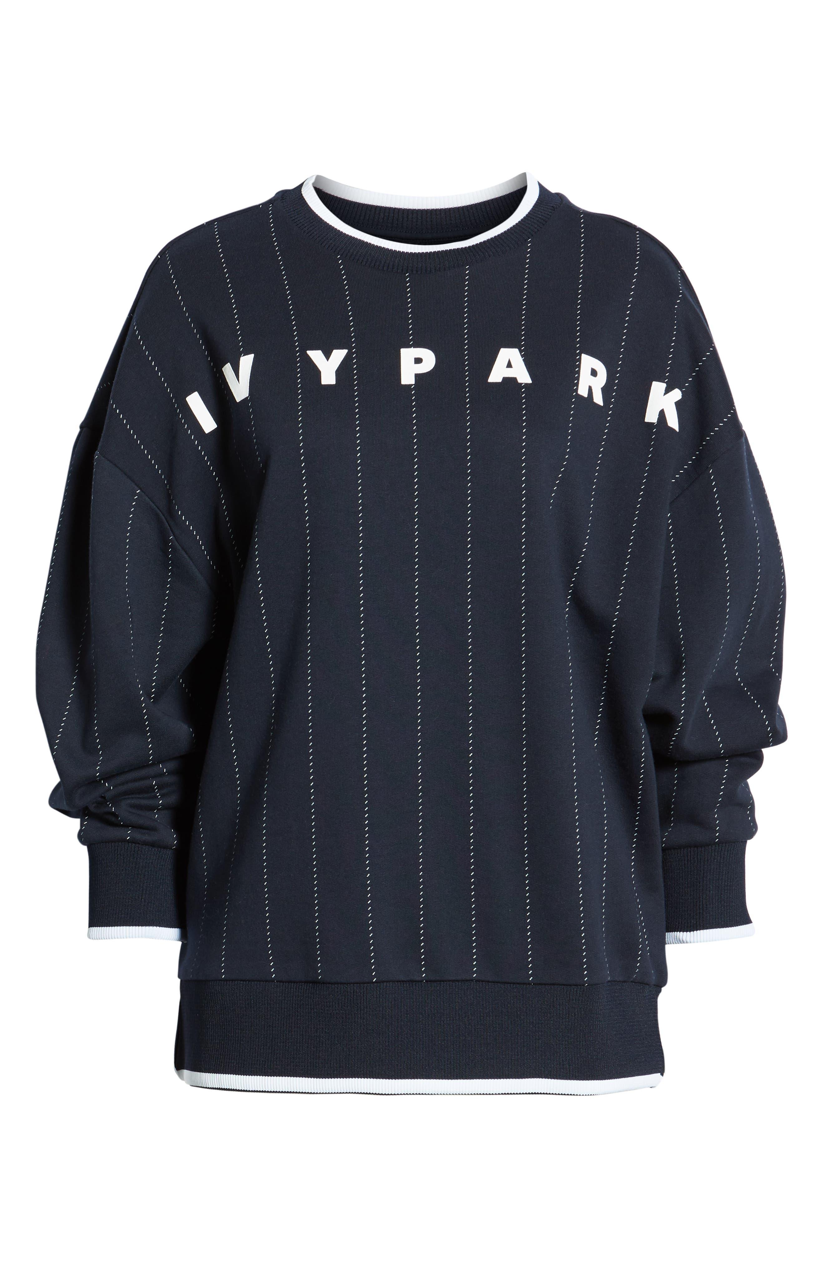 ,                             Baseball Pinstripe Sweatshirt,                             Alternate thumbnail 7, color,                             INK
