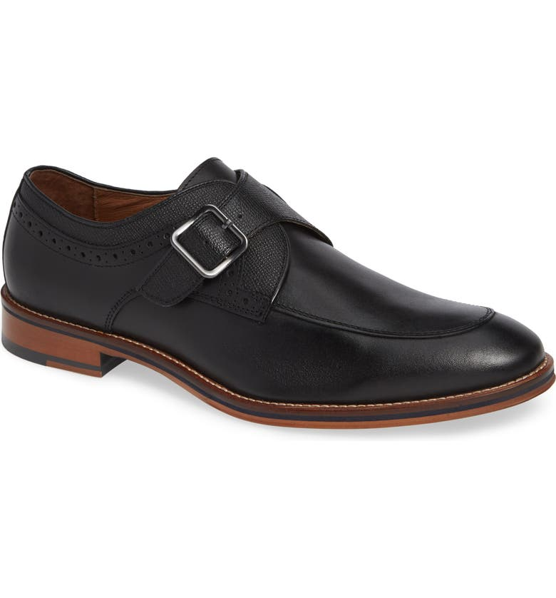 JOHNSTON & MURPHY Conard Monk Strap Shoe, Main, color, BLACK LEATHER