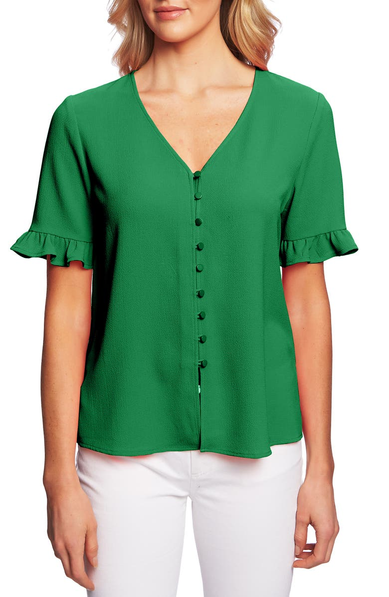 CECE Ruffle Sleeve Crepe Blouse, Main, color, RICH KELLY
