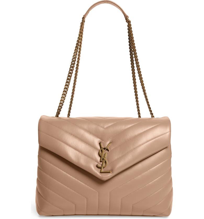 SAINT LAURENT Medium Loulou Matelassé Leather Shoulder Bag, Main, color, DARK BEIGE
