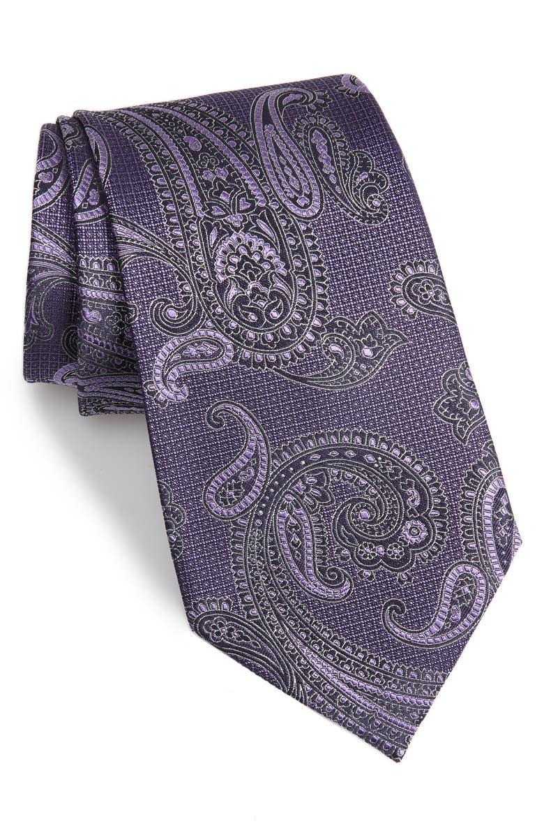 ERMENEGILDO ZEGNA Paisley Silk Tie, Main, color, PURPLE