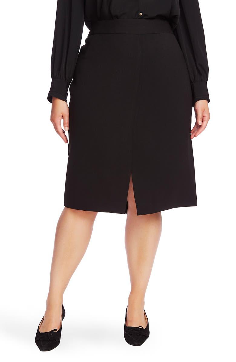 COURT & ROWE Front Slit Crepe Pencil Skirt, Main, color, RICH BLACK