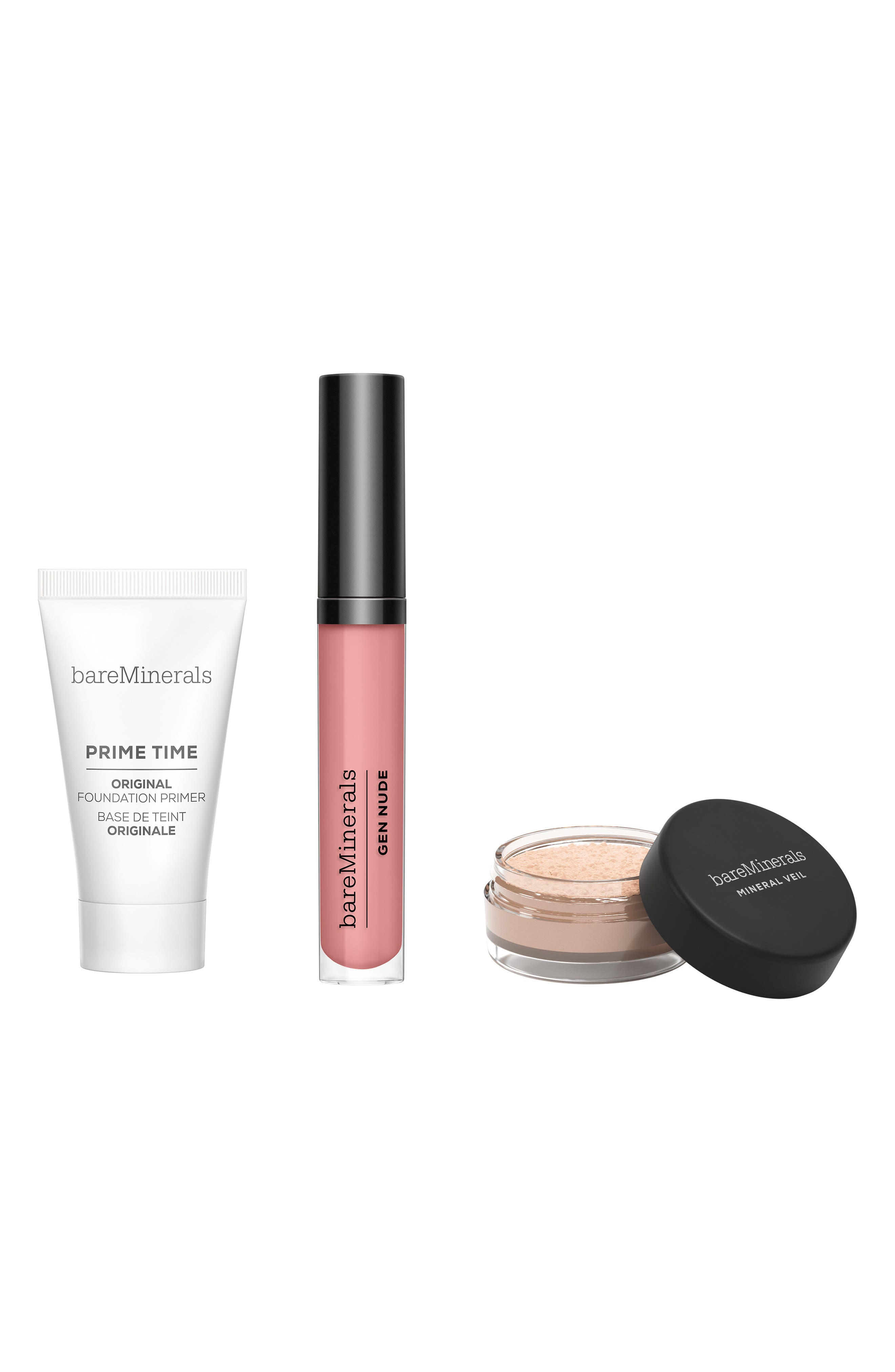 What it is: A limited-edition makeup trio to prime and perfect your way to beautiful skin, in eco-friendly packaging. Set include:- Full-size Gen Nude Patent Lip Laquer in Major (0.12 oz.): a vegan lip lacquer that provides high-shine, full-coverage color- Travel-size Prime Time Original Foundation Primer (0.5 oz.): a primer that creates a smooth canvas on your skin to extend makeup wear- Travel-size Mineral Veil Finishing Powder (0.03 oz.): a