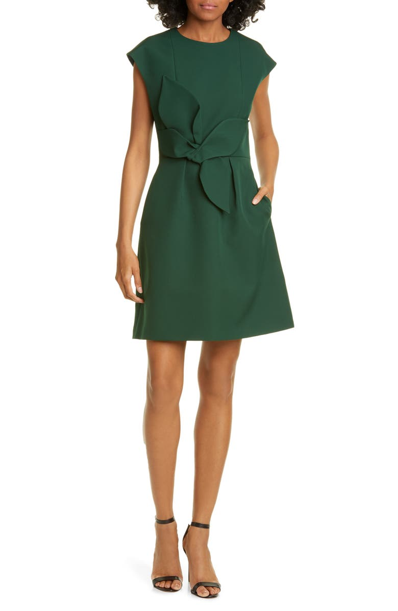 TED BAKER LONDON Polly Structured Bow Minidress, Main, color, DARK GREEN