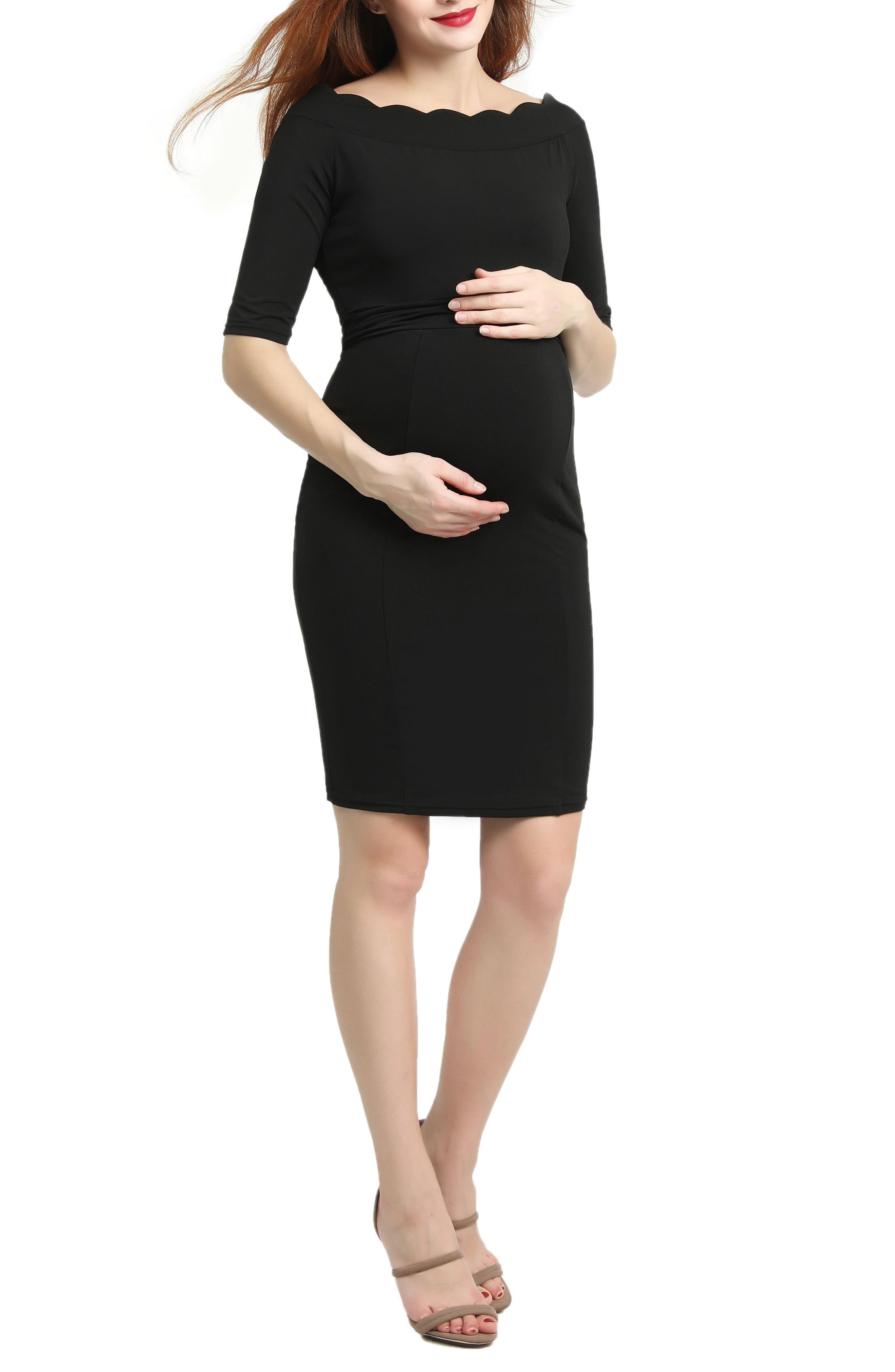 Kendall Scallop Trim Body-Con Maternity Dress