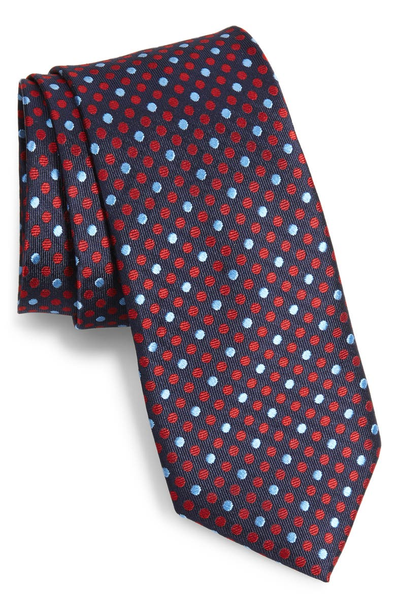 TED BAKER LONDON Dot Silk Tie, Main, color, RED