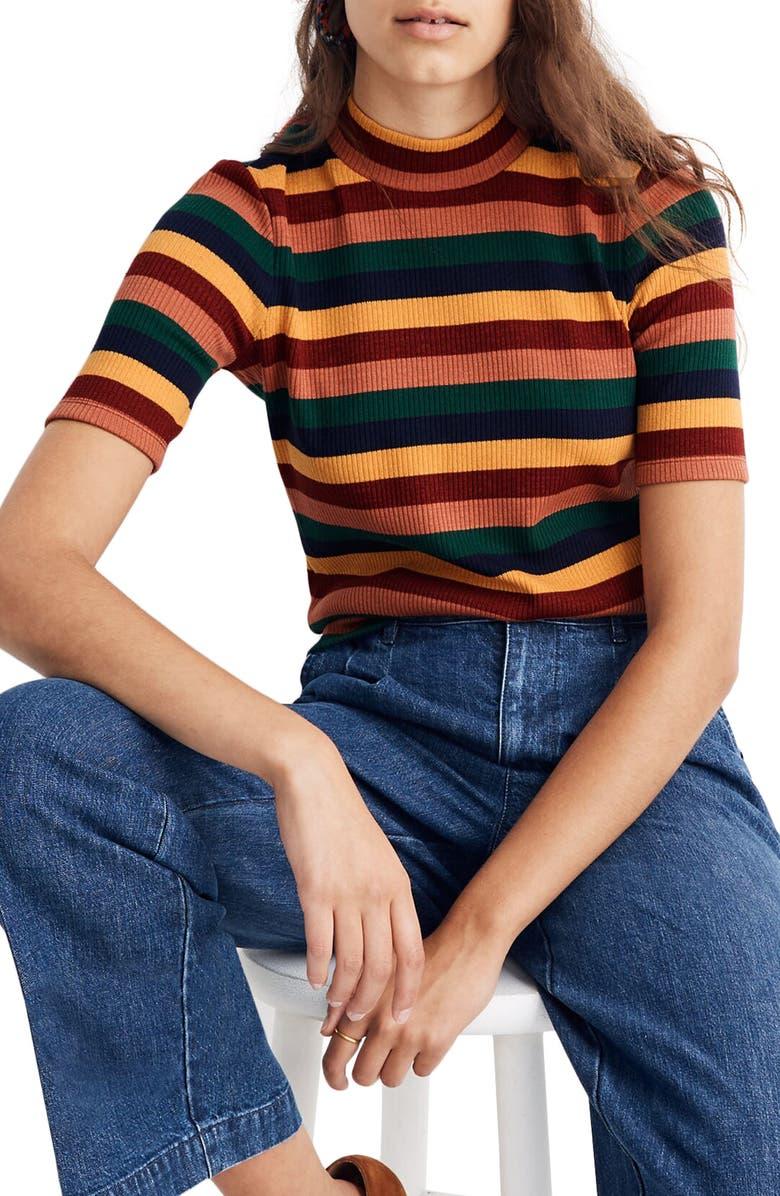 MADEWELL Rainbow Stripe Ribbed Mock Neck Top, Main, color, BRIGHT GARNET CUPCAKE STRIPE