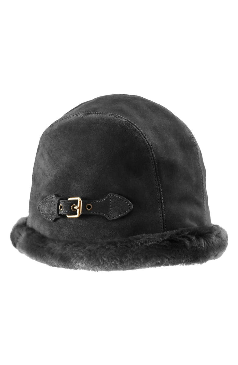 ERIC JAVITS Vail Water Repellent Suede Cloche with Faux Fur Lining, Main, color, BLACK