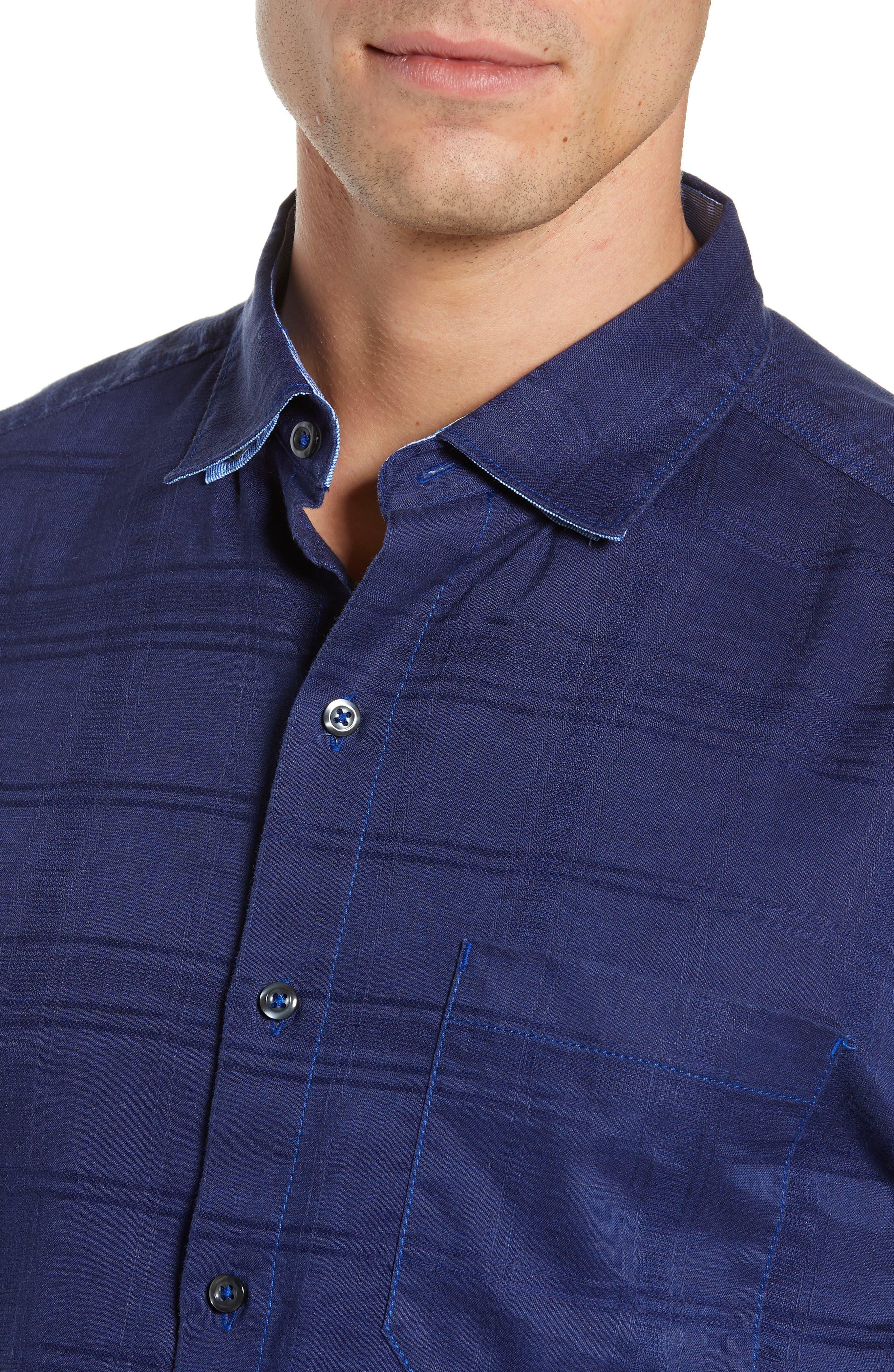 ,                             Costa Tautira Linen Blend Sport Shirt,                             Alternate thumbnail 2, color,                             THRONE BLUE