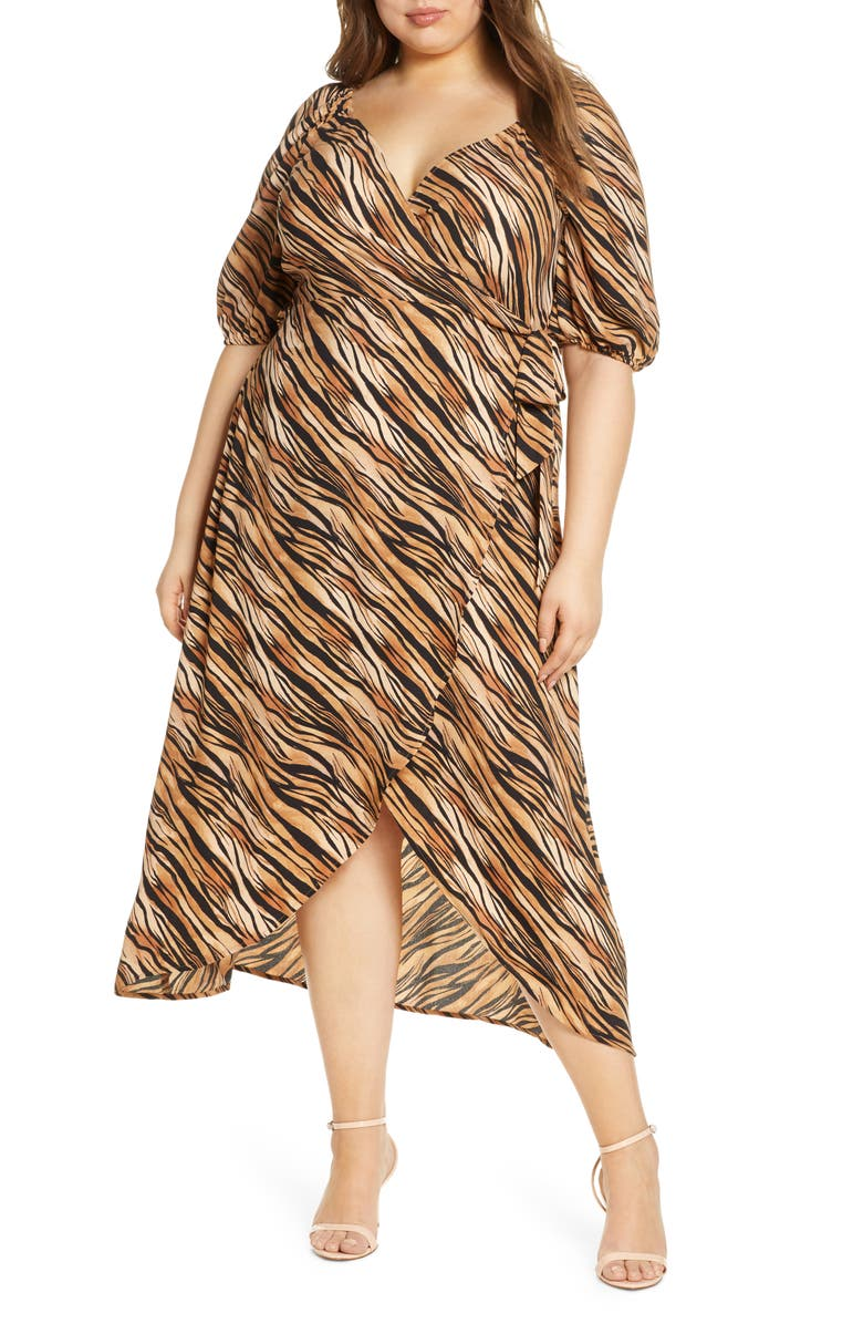 LEITH Short Sleeve Wrap Maxi Dress, Main, color, 235