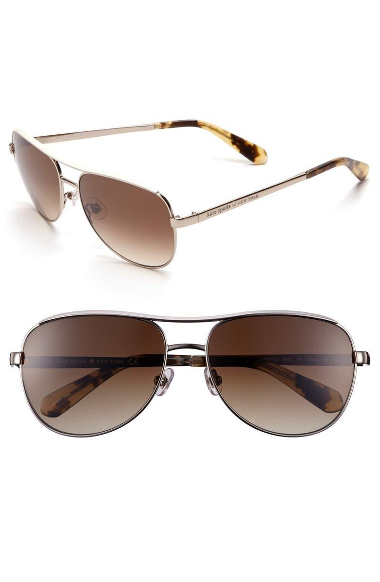 KATE SPADE NEW YORK 'dusty' 56mm metal aviator sunglasses, Main, color, 260