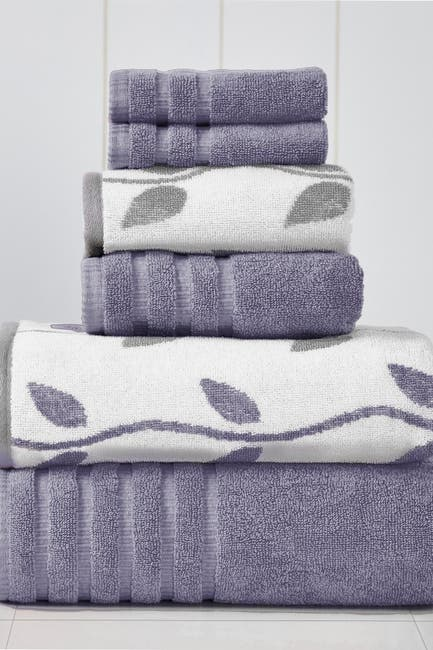 Image of Modern Threads Yard Dyed Towel 6-Piece Set - Organic Vines Grey Lavender