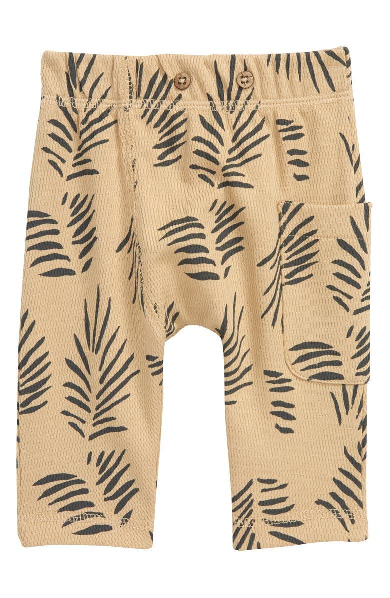 OLIVER & RAIN Lion Palm Print Organic Cotton Pants, Main, color, KHAKI