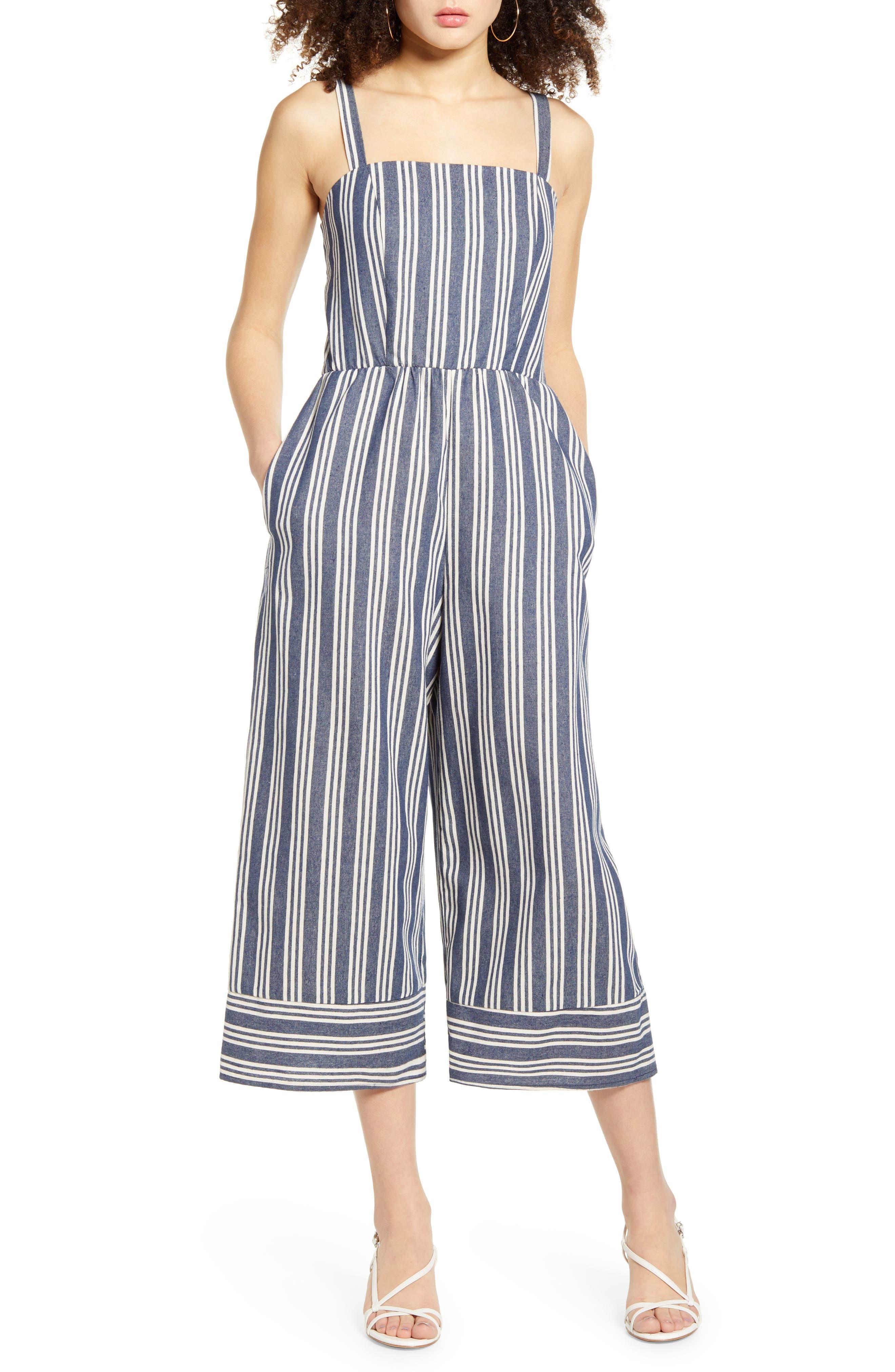 Speechless Juniors Striped Crop Jumpsuit
