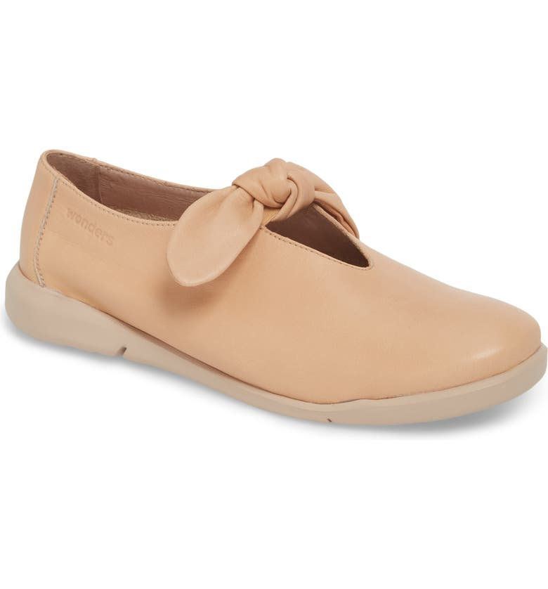 WONDERS Knotted Mary Jane Flat, Main, color, PALO BEIGE LEATHER