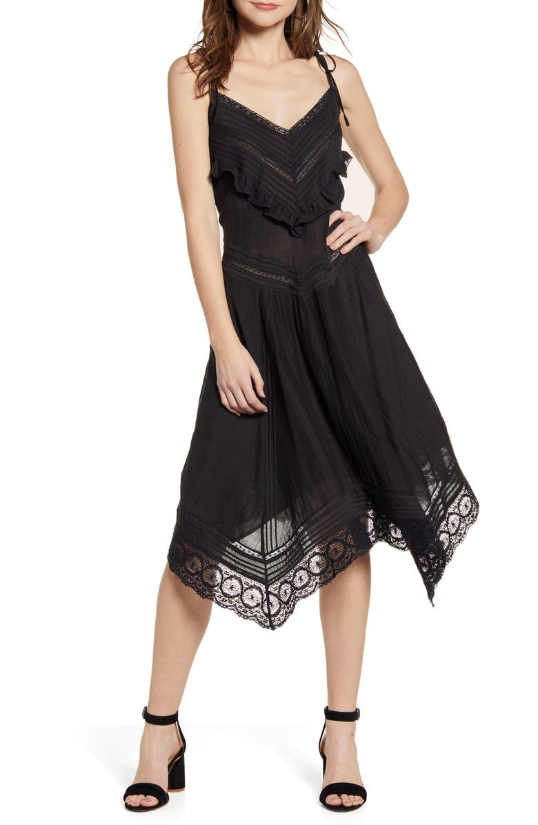 ZADIG & VOLTAIRE Rilli Handkerchief Hem Dress, Main, color, 001