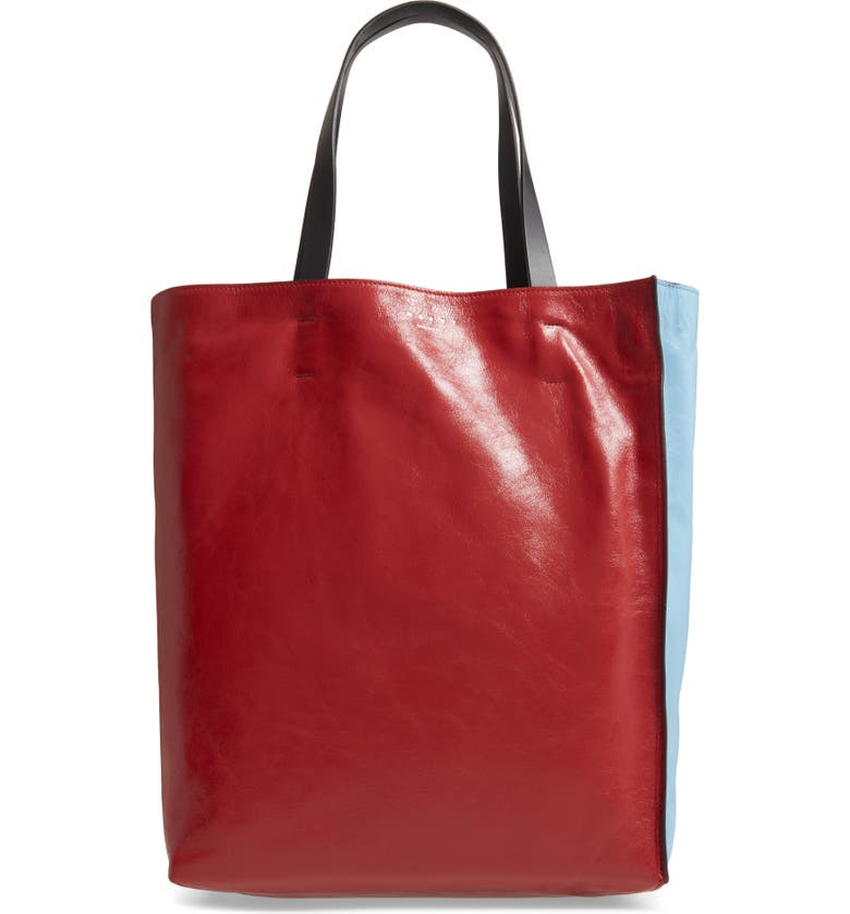 MARNI Museo Colorblock Soft Leather Tote, Main, color, RUBY/ OPAL