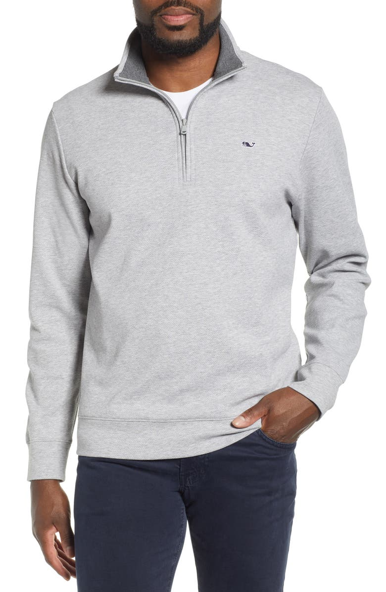 VINEYARD VINES Saltwater Regular Fit Half Zip Performance Pullover, Main, color, GREY HEATHER